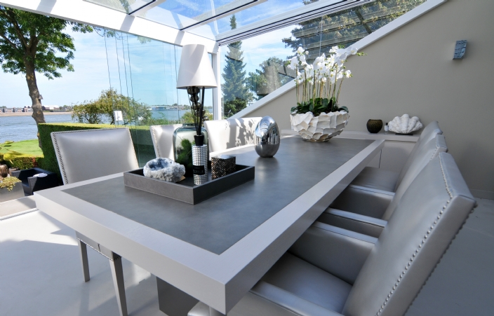 Avalon Dining Table , Leather Top