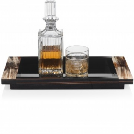 Aecahorn Tray black handles with wooden handles 50 x 25 cm