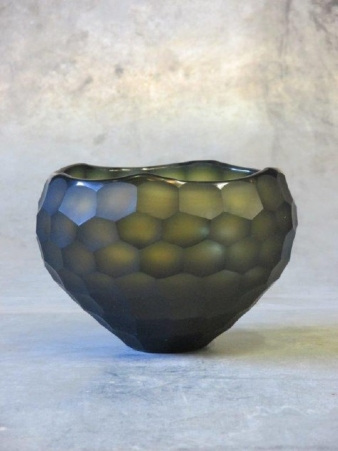 Waxinelight bowl amber grey rond 15 cm - 12h