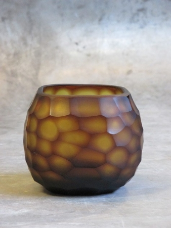 Waxinelight amber purple 13x13 cm -10h